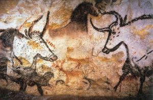 "Auroch from ancient painting in the ""Hall of Bulls"" in the caves of Lascaux, their positions signifying constellations and seasonal cycles."